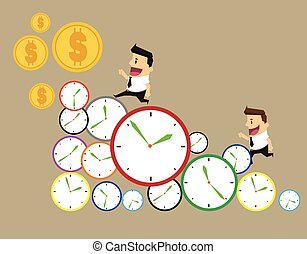 businessman runs in a hurry runs on time. Through the business day on a row of time clocks