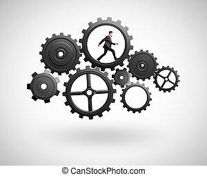 businessman runs in gears