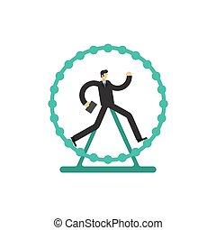 Businessman runs in wheel. lot of work. Concept routine work
