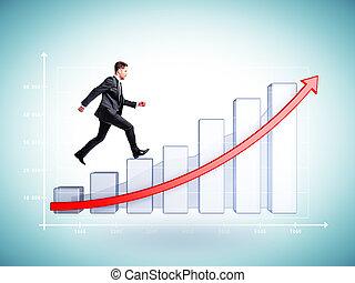 businessman runs on chart