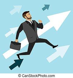 businessman runs on the arrows to success