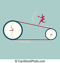 Businessman runs on the clock. The background is blue.