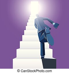 Businessman runs on the stairs. The background is purple.