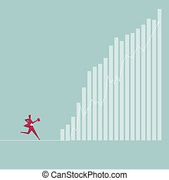 Businessman runs to the chart. Isolated on blue background.