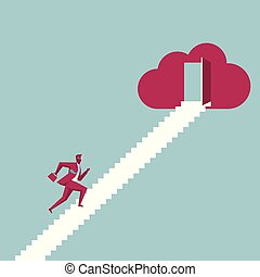 Businessman runs to the cloud symbol from the ladder. Isolated on blue background.