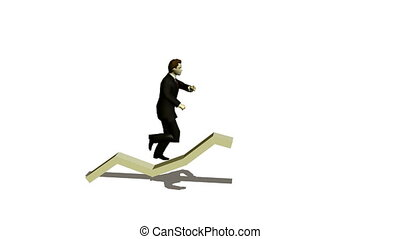businessman runs under diagramme upwards