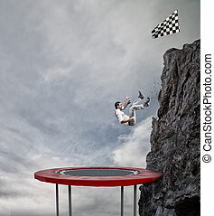 Businessman rushes down from a top of the mountain. Achievement business goal and Difficult career concept