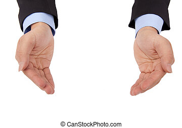 Businessman 's hand holding something and isolated on white background