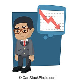 Businessman sad because the graphics fall