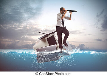Businessman sailing on a laptops and personal computer in the sea