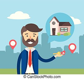 businessman sale house property and location