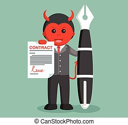 businessman satan hold contract