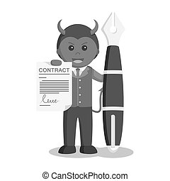 Businessman satan hold contract sheet and big pen