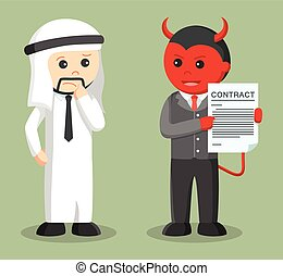 businessman satan offering contract