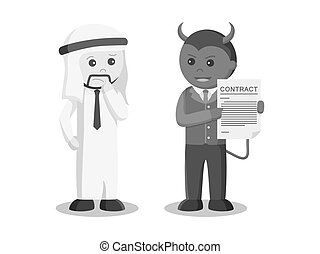 Businessman satan offering contract to arab businessman