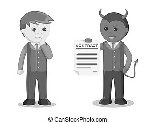Businessman satan offering contract to businessman