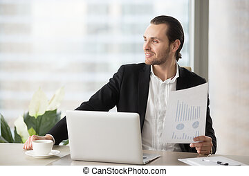 Businessman satisfied with good financial statistic