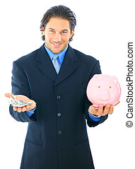 Businessman Save Money In Piggy Bank
