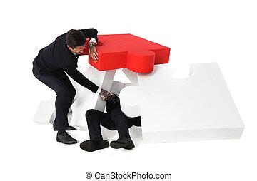 Businessman saving colleague