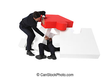 Businessman saving colleague