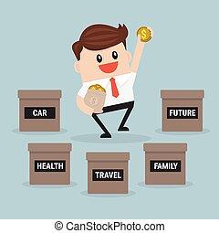 Businessman saving money for Family, Health, Travel, Car and Future