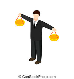 Businessman scale icon, isometric 3d style