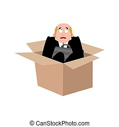 Businessman scared in box. frightened business man. Boss fear. Vector illustration