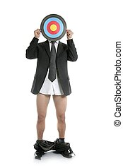 Businessman scared metaphor with target