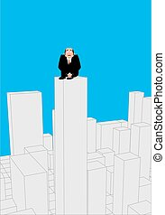 Businessman scared on skyscraper. frightened business man on roof of building. Boss suicide. Vector illustration