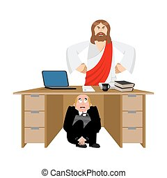 Businessman scared under table of Jesus Christ. frightened business man under work board. atheist. Boss fear office desk. To hide from God son. Vector illustration