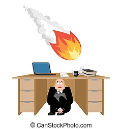 Businessman scared under table of meteorite. frightened business man under work board. comet fireball. Boss fear office desk. To hide from catastrophe. Vector illustration