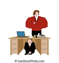 Businessman scared under table of wife. frightened business man under work board. Vector illustration