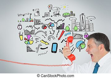 Businessman screaming directly into the handset - Composite...