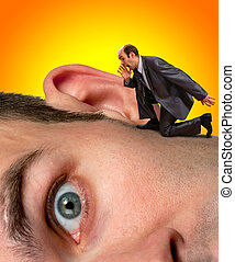 Businessman screaming to ear