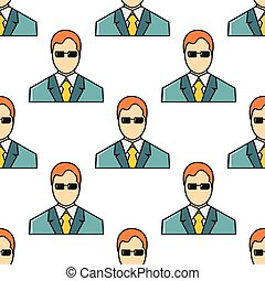 Businessman seamless pattern in cartoon style isolated on white background vector illustration
