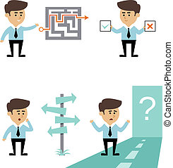 Businessman search decision concept with man with labyrinth...