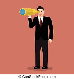 Businessman search in business strategy