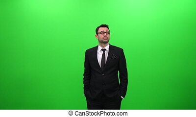 Businessman Searching on Green Screen