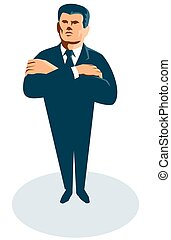 businessman secret agent arms crossed - vector illustration...