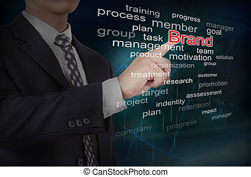 Businessman select brand word on touch screen interface....