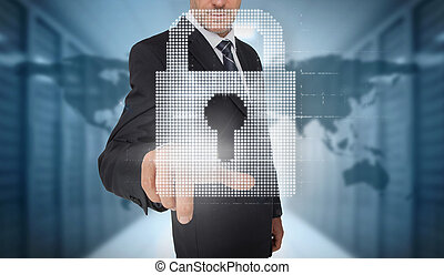 Businessman selecting a digital padlock with a world map on...