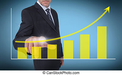 Businessman selecting a growing cha