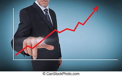 Businessman selecting a red arrow p