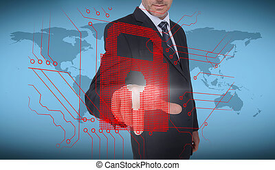 Businessman selecting a red padlock with world map on the...