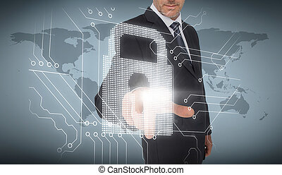 Businessman selecting a white padlock with world map on the...