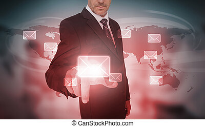 Businessman selecting futuristic email interface