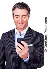 businessman sending a text