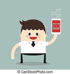 Businessman sending messages by smartphone, flat design, vector