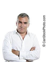 businessman senior gray hair expertise man isolated on white