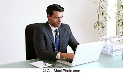 Businessman seriously working